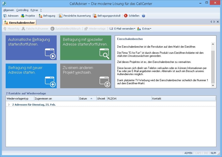 Screenshot vom Programm: CallAdviser