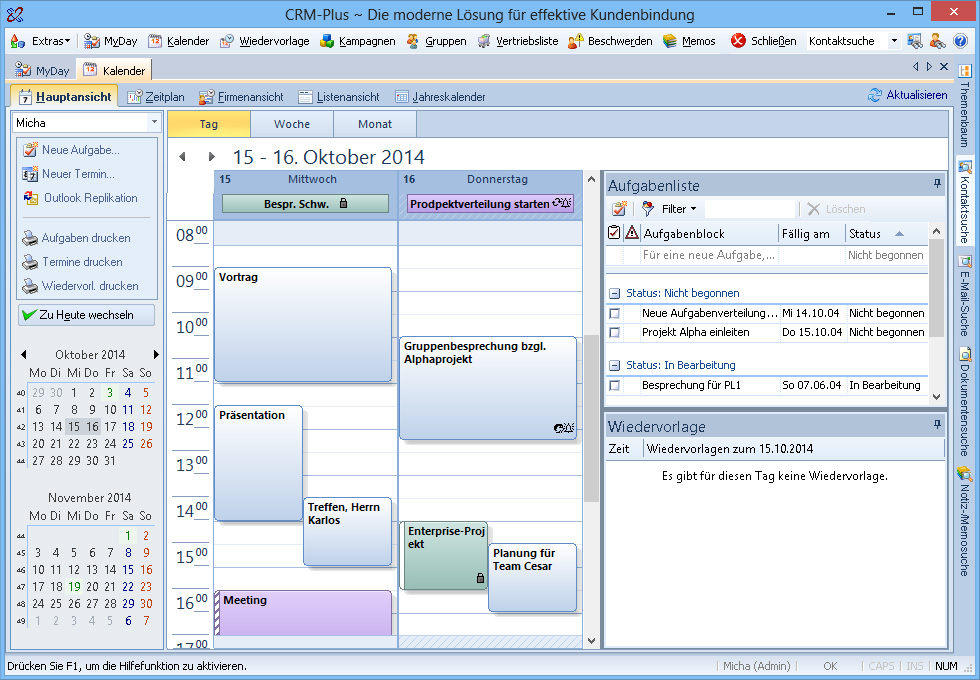 Screenshot vom Programm: CRM Plus Personal Edition