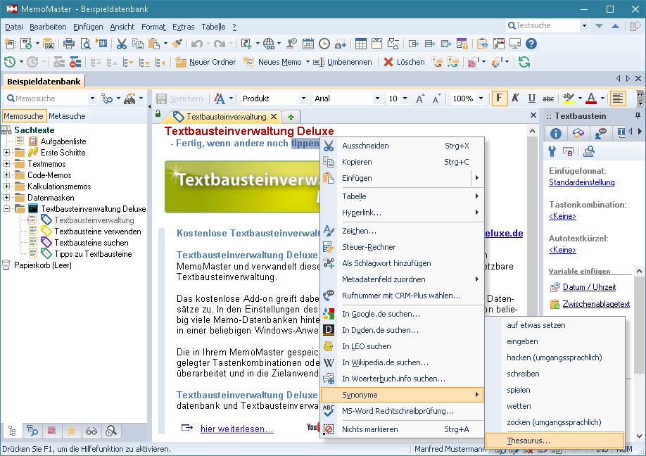 Screenshot vom Programm: MemoMaster